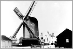 A lovely picture of Rustington Mill, at this time still just about working, It must be 1903-4 because Millfield Home is almost complete, although scaffolding is still visible. Rustington, Sussex