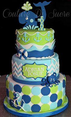 Dark Blue, Light Blue Lime Polka Dot and Chevron Nautical Cake (Adrian Josue)