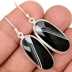 Faceted Black Banded Agate 925 Sterling Silver Earrings Jewelry BBFE58 - JJDesignerJewelry