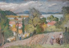 Szőnyi István , Zebegény , 1940-es évek, Olajtempera, Vászon Landscape Paintings, Landscapes, Color, Art, Impressionist Paintings, Impressionism, Scenery, Paisajes, Craft Art