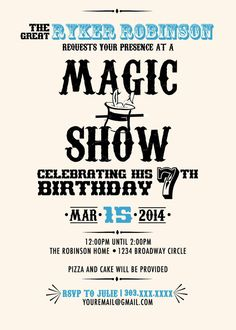 Abracadabra invite idea cub scouts pinterest magic party magic show magician birthday party invitation color or bw 5x7 digital download pdf stopboris Choice Image