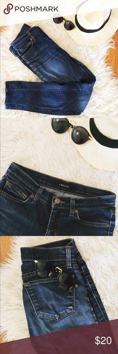 J Brand Skinny Jeans The comfiest dark wash J Brand jeans. Good condition, a bit worn in the knee area. J Brand Pants Skinny