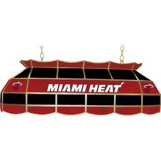 Trademark NBA Miami Heat NBA 3-Light Stained Glass Hanging Tiffany Lamp