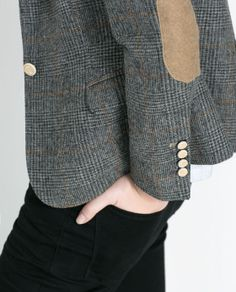 CHECKED BLAZER WITH ELBOW PATCHES from Zara