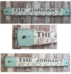 Personalized Family Name With Custom GPS Coordinates Sign. Rustic 4 Great for Lake House, Beach House or By the Pool. Distressed Sign.                                                                                                                                                      More