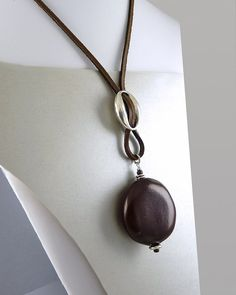 Oversized Nut Pendant on Leather Cord by InHappyMode on Etsy