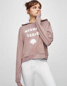 Pull&Bear - woman - clothing - sweatshirts - text sweatshirt - pale mauve - 05589369-V2017