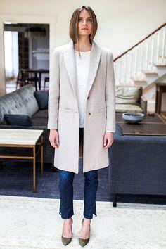 tailored wool coat in oatmeal