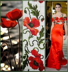 The perfect deb dress.wish I could magically transport it into my closet Bead Loom Patterns, Beading Patterns, Embroidery Patterns, Cross Stitch Patterns, Beaded Embroidery, Cross Stitch Embroidery, Hand Embroidery, Cross Stitch Rose, Cross Stitch Flowers