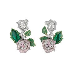 Dior 创意花园里盛放的玫瑰 ❤ liked on Polyvore featuring jewelry, earrings, dior, green, green jewelry, green earrings and earring jewelry