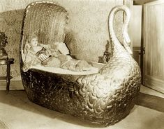 Every girl deserves a gold swan bed. This is Mae West's... idk, looks like maybe it would be more adorable as a crib... a little different scale size...