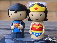 Cute Super Hero Wedding Cake Topper  Superman by GenefyPlayground, £78.00