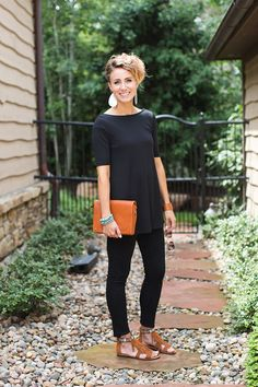 I prob wouldn't like these sandals that much.but this all black outfit looks cute on her. ONE little MOMMA: Wearing All Black in the Summer- 5 Ways to Brighten It Up All Black Outfit For Work, Black Summer Outfits, Black Pants Outfit, Black Pants Summer, Summer Dresses, Casual Outfits, Cute Outfits, Fashion Outfits, Amazing Outfits
