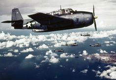 Japanese-held Wake Island under attack by U. carrier-based planes in November (AP Photo) Note :The aircrafts in the picture seem to be ( correct me if i'm wrong) Grumman TBF /TBM Avenger torpedo bombers. Navy Aircraft, Ww2 Aircraft, Military Aircraft, Aircraft Images, Drones, Wake Island, Ghost Rider, Ww2 Planes, Military History
