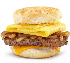 Steak, Egg & Cheese Biscuit Seasoned steak patty and a fluffy, folded egg get topped with savory grilled onions and melty American cheese — all layered on a warm, buttermilk biscuit. Cheese Biscuits, Buttermilk Biscuits, Seasoned Steak, Mcdonalds Coupons, Mcdonald Menu, American Cheese, Onions, Hamburger, Eggs