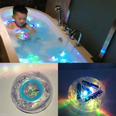 Colorful Bathroom LED Light Toys Kids Funny Bathing Toys Waterproof in Tub Kids Toys Gift Bath Toy Features: Suitable for ages 3 and above Size: 90mmx90mmx45mm Requires 3 AAA batteries (not included)