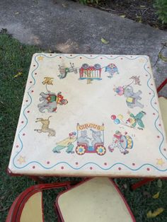 Vintage Childrens Furniture Card Table Chairs Circus By