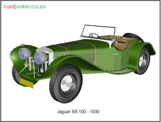 3D Vehicle: Jaguar SS100 - 1930 Autocad, 3d Cad Models, Cad Blocks, Jaguar, 3 D, Transportation, Vehicles, Car