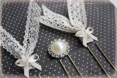 Planner paperclips set of 3 cream lace and by PlannerGlamourByBee