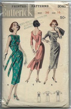 So elegant. Vintage Butterick 8040 Misses High Waisted Sheath Dress with Back Hem Flare Sewing Pattern Size 12 Bust 32 Pattern is CUT and complete, printed. Vintage Dress Patterns, Clothing Patterns, Vintage Dresses, Vintage Outfits, Vintage Fashion, Fashion Through The Decades, Pattern Fashion, Sheath Dress, 1950 Style