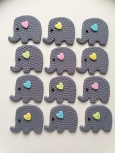 Fondant Elephant Gender Reveal Baby Shower toppers by FireflyEdibleDesigns on Etsy