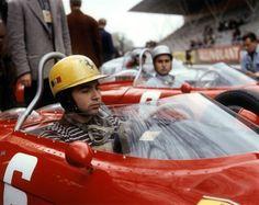 Ricardo Rodriguez, Ferrari 156. His brother Pedro is in the background, also in a Ferrari. 1962