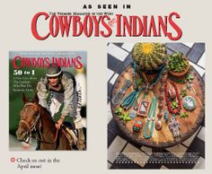 April, 2014 issue of Cowboys & Indians.  Laura Ingalls Designs - Double Strand of Campitos Turquoise and Sterling Silver necklace is featured in the spring fashion shoot.