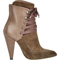 IRO Suede & Leather Kansas Boots ($399) ❤ liked on Polyvore featuring shoes, boots, ankle booties, nude, lace up high heel booties, suede boots, suede ankle booties, suede booties and suede bootie