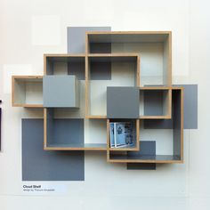 From Designersblock - Again, it could just be my ongoing love of grey, but I thought these shelves from Destes were rather cool too… Mais Wall Shelves Design, Bookshelf Design, Wall Design, House Design, Home Furniture, Furniture Design, Home Organization, Organizing, Floating Shelves