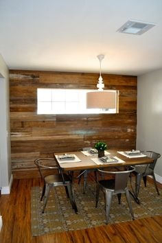 Reclaimed wood wall -- would love to do this in our downstairs living room Reclaimed Wood Accent Wall, Reclaimed Barn Wood, Kitchen Feature Wall, Country Living Decor, Estilo Interior, Farmhouse Remodel, Lounge, Apartment Living, Sweet Home