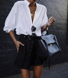Black skirt, white button down, classic and chic outfit