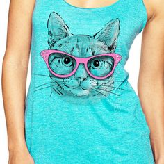 Womens Cat Shirt Tank Top Athletic Clothing Crazy Screen Printed Gym Shirts Exercise Cat Funny workout kitten glasses tank Christmas Gift