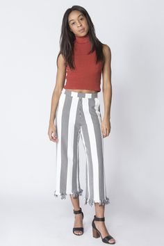 Striped Raw Hem Culottes - Mod and Soul -ENGLISH FACTORY - 2 #culottes