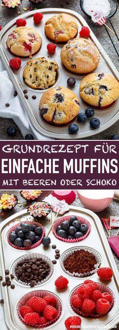 Muffins Grundrezept - so einfach und lecker - emmikochteinfach Applesauce Muffins, Apple Cinnamon Muffins, Muffin Recipes, Cake Recipes, Pumpkin Cream Cheese Muffins, Starbucks Pumpkin, Sweets, Snacks, Baking