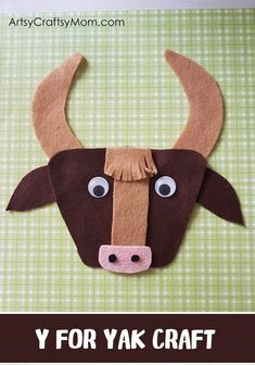 Make this quick and easy Y for Yak Craft using our Printable Template that's perfect for learning about Tibet, cattle, bovine animals, domestic animals or the Letter Y. Preschool Projects, Kindergarten Crafts, Projects For Kids, Preschool Activities, Preschool Letters, Felt Projects, Letter Y Crafts, Alphabet Crafts, Alphabet Books