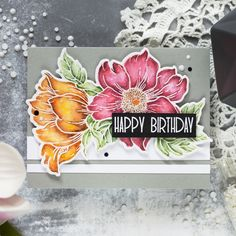 Gray is probably one of my favorite cardstock colors to work with and today I want to share a card where I combined a watercolor element with gray background. Watercolor Birthday Cards, Watercolor Cards, Watercolor Ideas, Watercolor Techniques, Flower Stamp, Flower Cards, Simple Card Designs, Altenew Cards, Pretty Cards