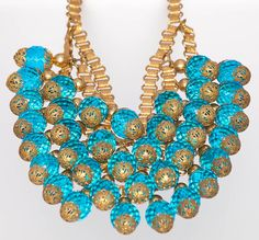 Grand & Outstanding Miriam Haskell Blue Crystal Bib, ca 1930's from giddy on Ruby Lane