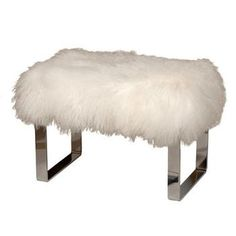Fur Bench | Seating - Curly Lamb Fur & Chrome Bench | Pieces - wool, chrome, bench