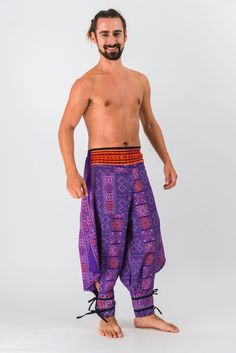 Clovers Thai Hill Tribe Fabric Men Harem Pants with Ankle Straps in Purple