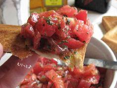 お手軽朝ご飯【トマトだけのブルスケッタ】の画像