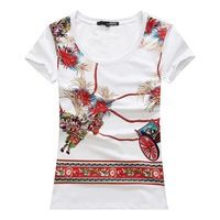 2015 summer fashion hot drilling print cotton slim short sleeve t shirt women 3colors L,XL,XXL
