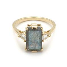 Labradorite Bea Engagement ring unique designer wedding ring rose gold – Anna Sheffield Jewelry
