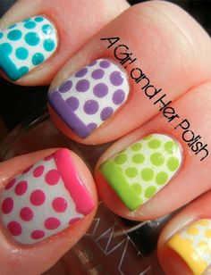 love the french touch to a colorful dotted mani :D