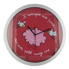"""Horloge """"Je marque une pause sur mon petit nuage rose"""""""