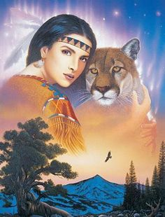 Maiden with winking cougar Native American Wolf, Native American Pictures, Native American Artwork, Native American Wisdom, Native American Beauty, Indian Pictures, American Indian Art, Native American History, American Symbols