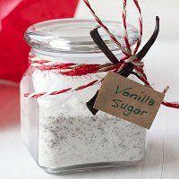 Vanilla Bean Sugar - Let's do the math.  One 12-case of mason jars: $7.47  One 10-lb. bag of sugar: $5.58  7 Vanilla Beans: $6.95  Cost of making one Vanilla Bean Sugar mason jar gift: $3.15!