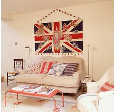 A Union Jack flag is a simple yet effective way to add colour to the home, via idesignarch