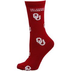 Oklahoma Sooners Womens Allover Logo Tall Socks - Crimson