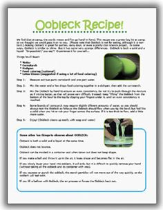 oobleck recipe and investigative questions