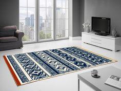 Covor albastru, Modern, Imprimeu abstract, 6 dimensiuni disponibile, Wilton Navy Blue - hoome.ro